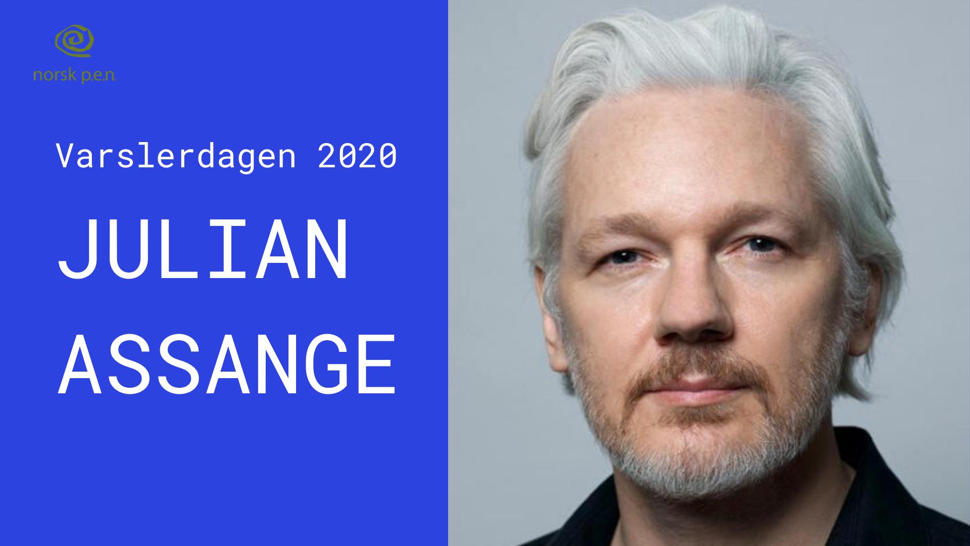 """Arrangementsbilde med teksten """"Varslerdagen 2020: Julian Assange"""" og et bilde av en hvithåret, hvit mann som ser i kamera (Julian Assange)."""